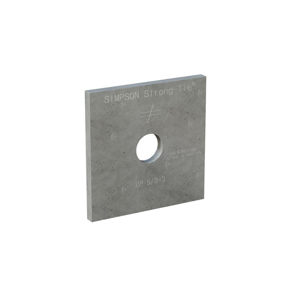 3 in. x 3 in. Hot-Dip Galvanized Bearing Plate with 5/8 in. Dia Bolt