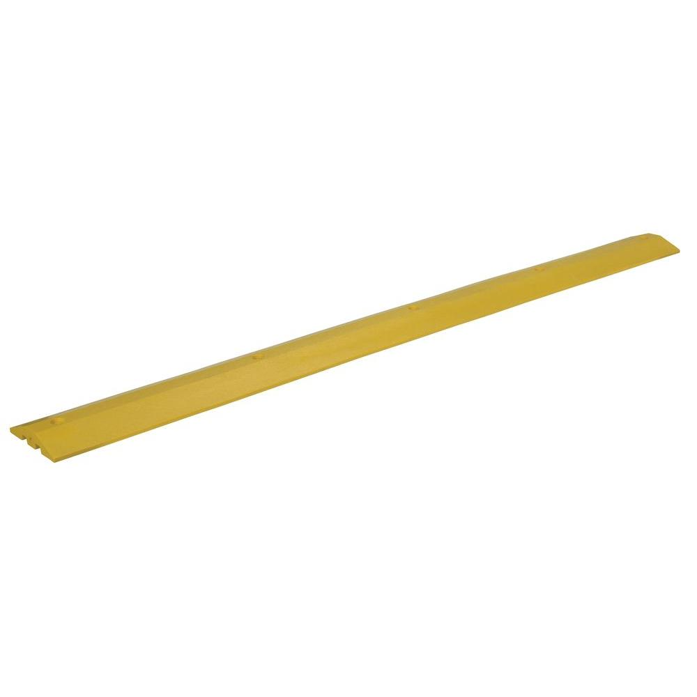 106 in. x 10 in. x 2 in. Recycled Yellow Plastic Speed Bump with Concrete Hardware