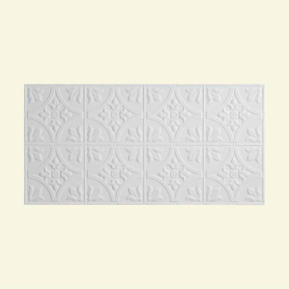 Traditional 2 - 2 ft. x 4 ft. Glue-up Ceiling Tile in Matte White