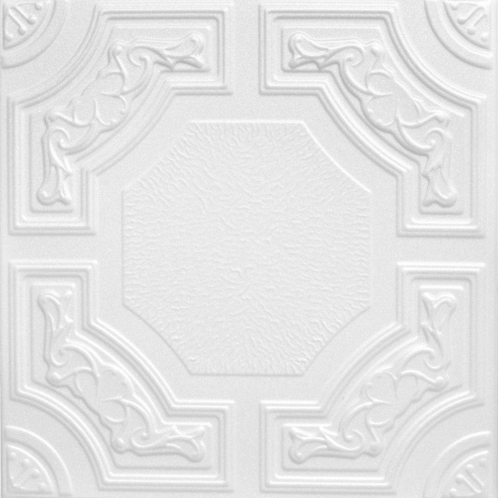 Evergreen 1.6 ft. x 1.6 ft. Foam Glue-up Ceiling Tile in Plain White (21.6 sq. ft. / case)