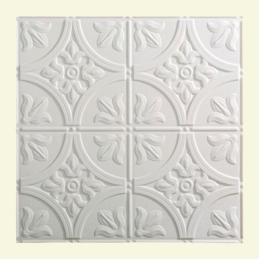 Traditional 2 - 2 ft. x 2 ft. Lay-in Ceiling Tile in Matte White