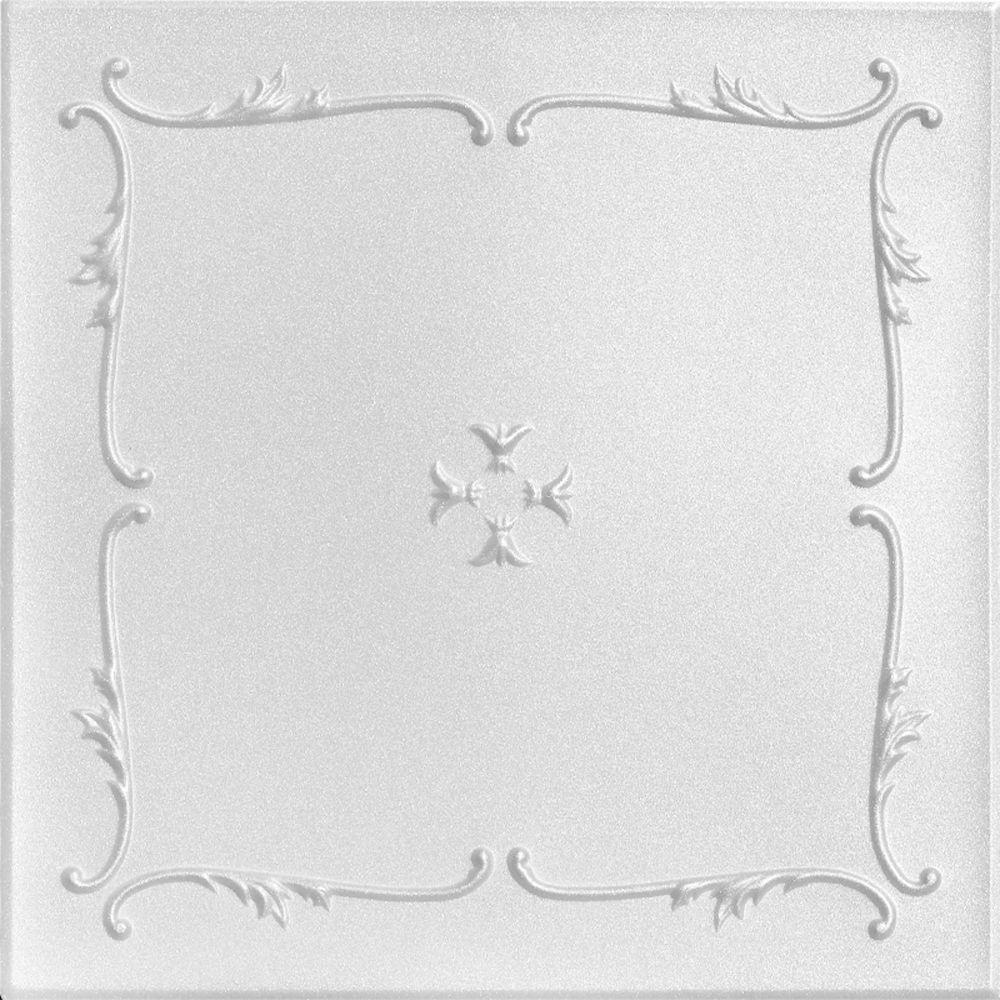 Spring Buds 1.6 ft. x 1.6 ft. Foam Glue-up Ceiling Tile in Plain White (21.6 sq. ft. / case)