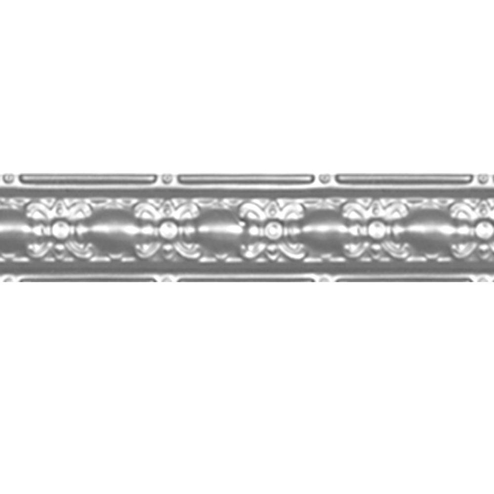 4 in. x 4 ft. Brite Chrome Nail-up/Direct Application Tin Ceiling Cornice (6-Pack)